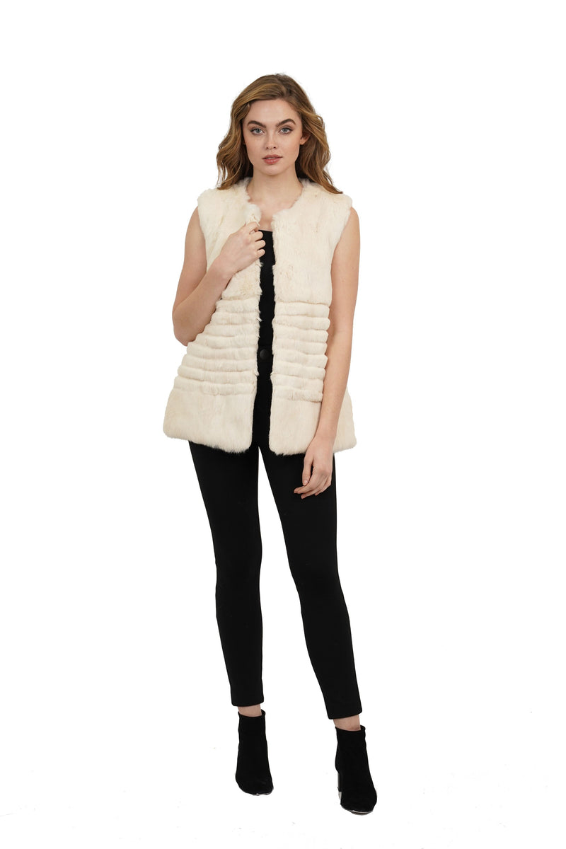 Sandy Genuine Rabbit Fur Panel Vest