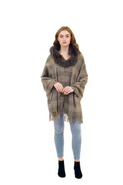 Jones Genuine Racoon Fur Plaid Scarf Wrap