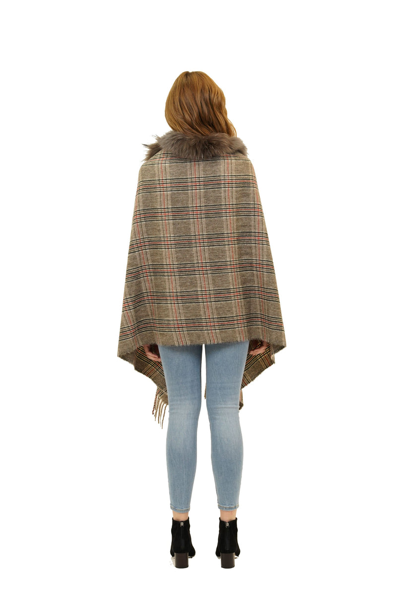 Jones Genuine Real Racoon Fur Plaid Scarf Wrap