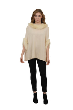 Aries Faux Fur Collar Pullover Poncho w/ Sleeves