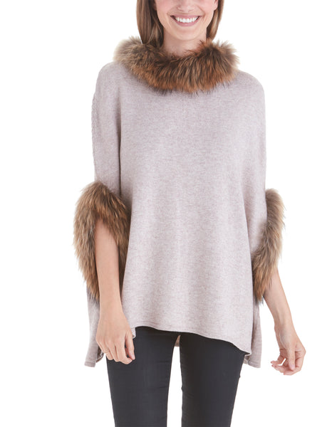 Walter Poncho with Raccoon Fur Trim