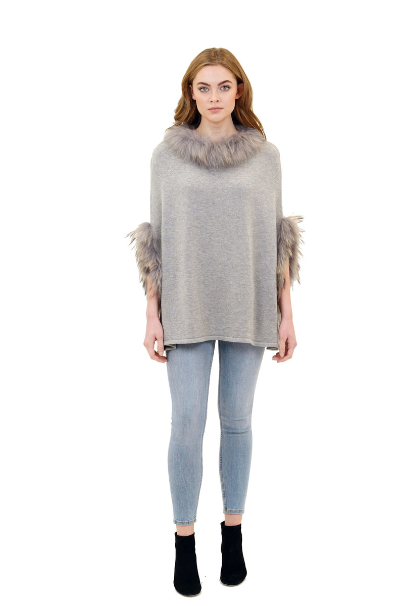 Walter Knit Poncho w/ Genuine Real Racoon Fur Trim
