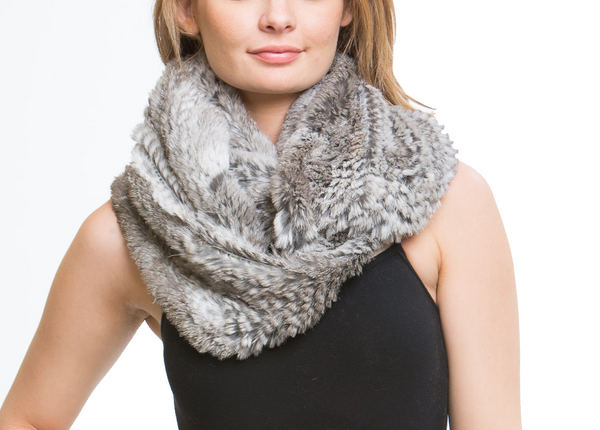 Stella-Miles Genuine Real Rabbit Fur Infinity Scarf