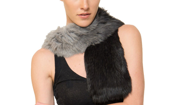 Julian Genuine Real Rabbit Fur Ombre Scarf