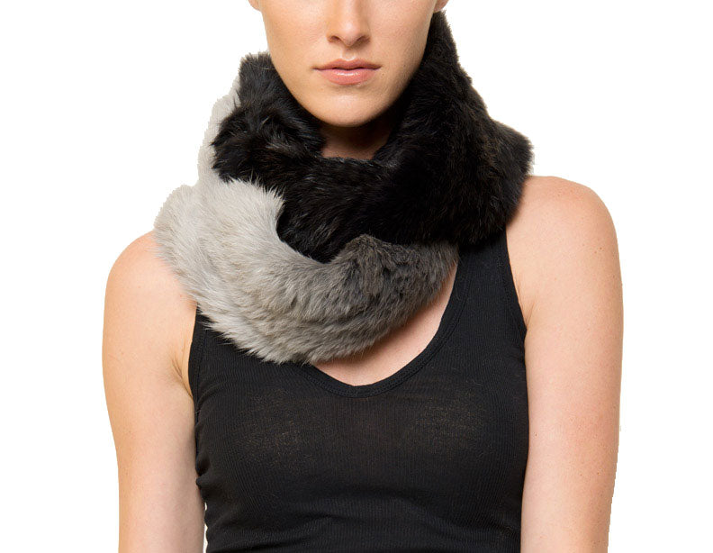 Cole Ombre Genuine Real Rabbit Fur Infinity Scarf