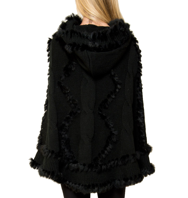 Scarlett Hooded Poncho with Rabbit Fur Trim