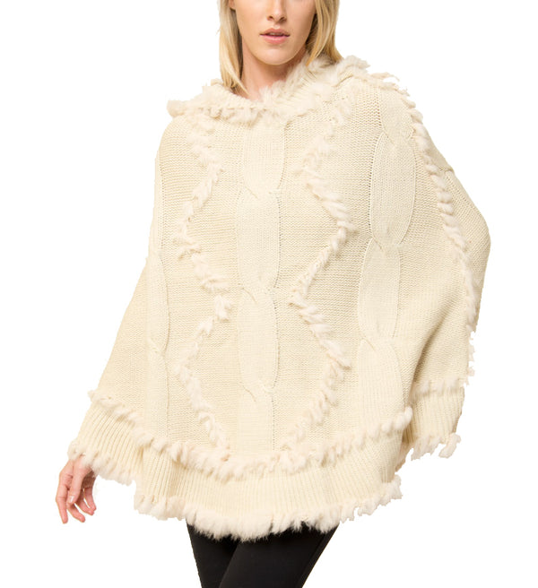 Scarlett Hooded Poncho with Genuine Real Rabbit Fur Trim