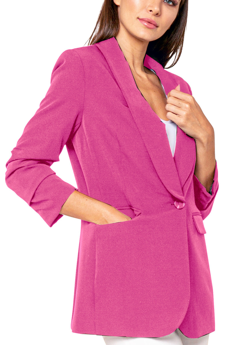 Dexter Rouched Sleeve Single Lapel Blazer Jacket