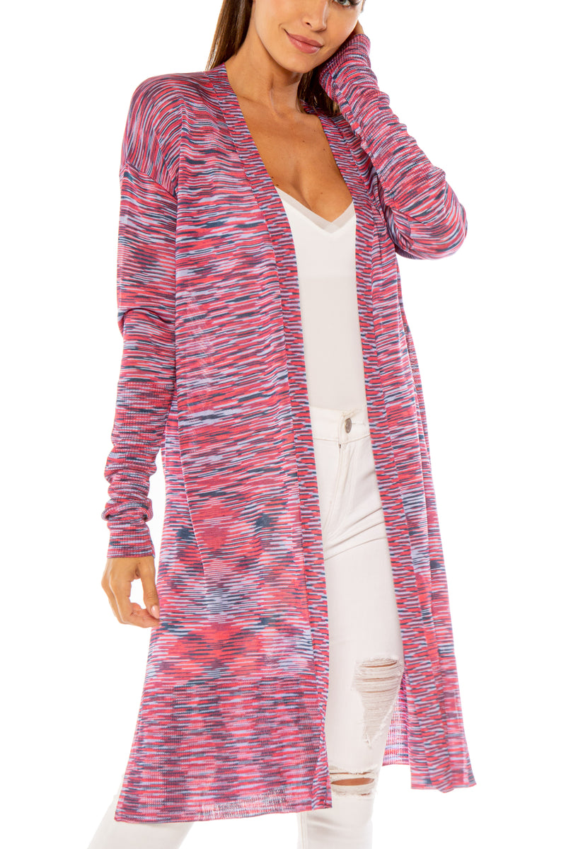 Gavin Long Multicolor Space Dye Cardigan