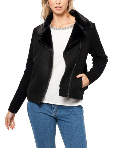 Margo Moto Cardigan w/ Faux Fur Collar