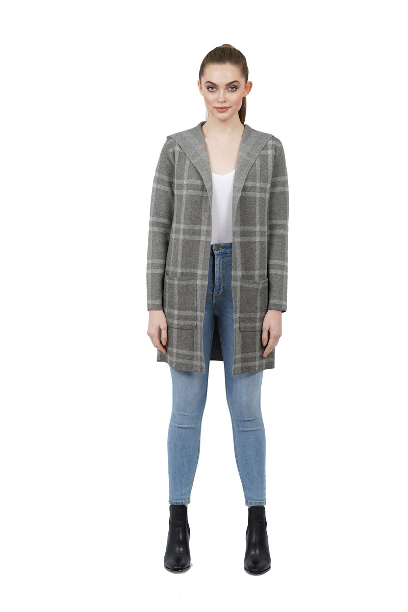 Juniper Plaid Hooded Cardigan Sweater