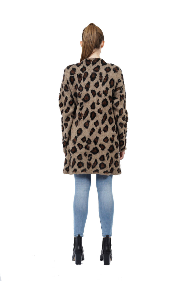 Wendy Animal Print Open Cardigan Sweater