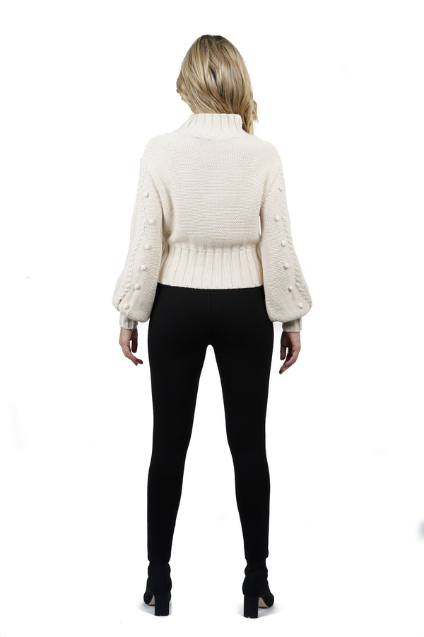 Annalise Cable Sweater with Pom Sleeves