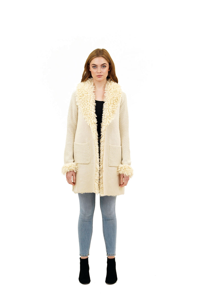 Siren Faux Fur Wide Shearling Collar Knit Jacket Coat