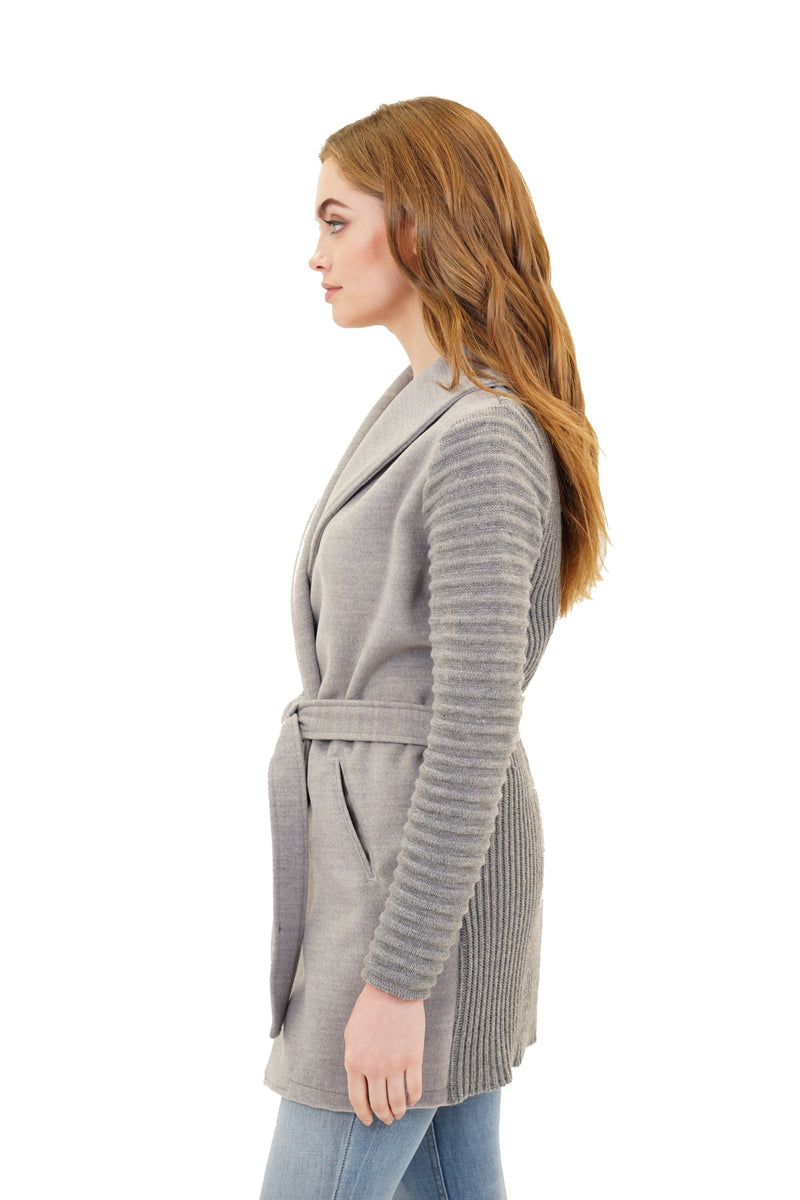 Thea Ribbed Sleeve Wrap Cardigan Sweater