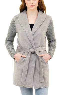Thea Ribbed Sleeve Wrap Cardigan