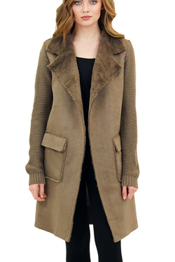 Harlow Faux Fur Wide Collar Knit Trench Jacket Coat