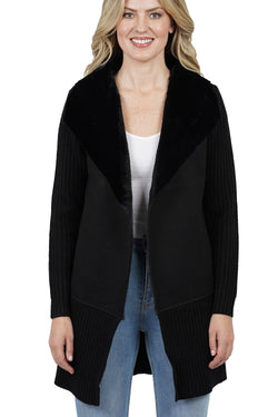 Kali Faux Fur Wide Collar Knit Jacket