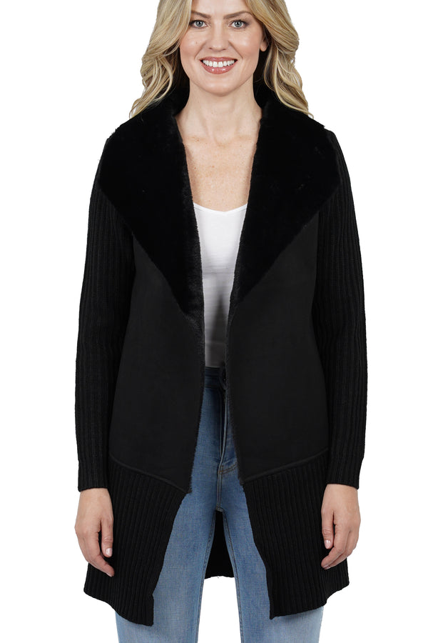 Kali Faux Fur Wide Collar Knit Jacket Coat