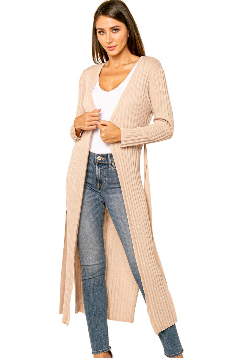 Liam Pleated Crinkle Long Sash Tied Cardigan