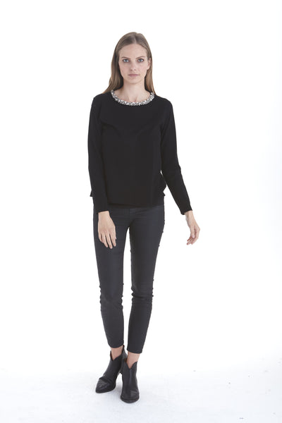 Zury Embellished Neck Sweater | Love Token US