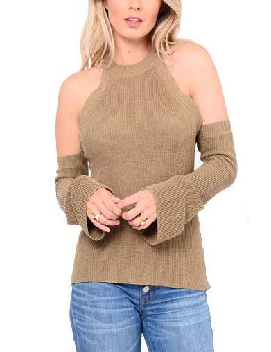 Pierce Cold Shoulder Knitted Top