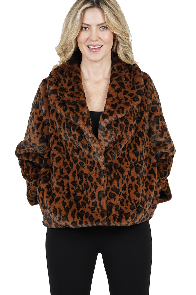 Willowdean Faux Fur Leopard Print Jacket Coat