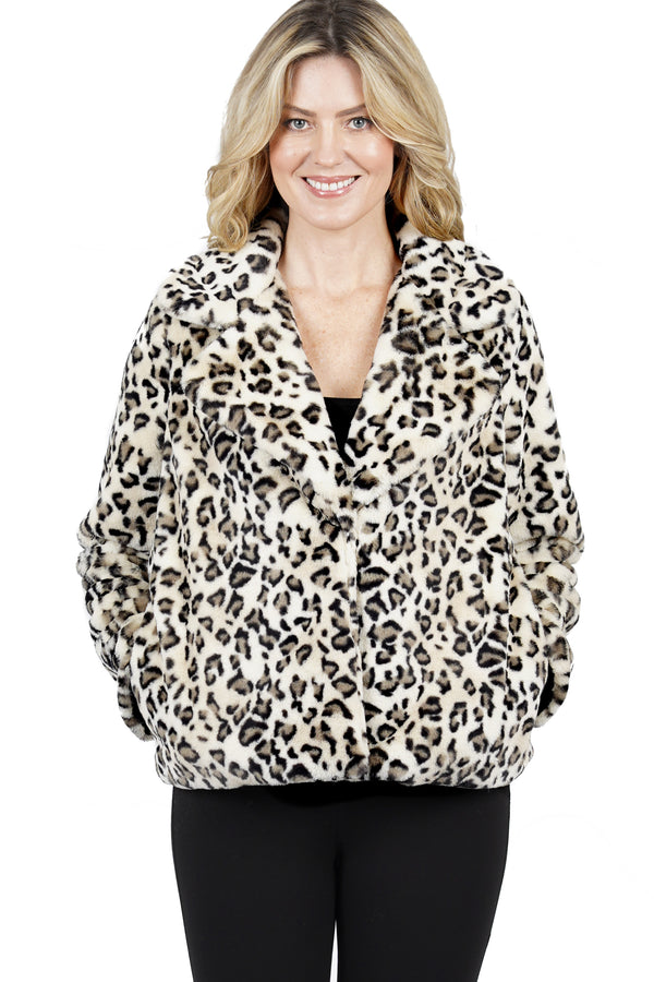 Maverick Faux Fur Leopard Print Jacket Coat