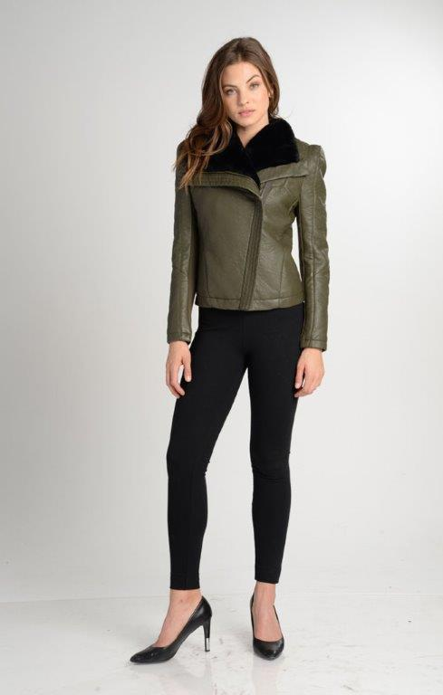 Jada Faux Fur Lined Moto Biker Jacket Coat