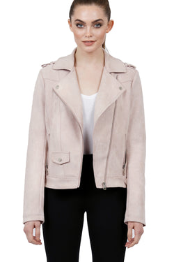 Ruby Suede Biker Moto Jacket Coat
