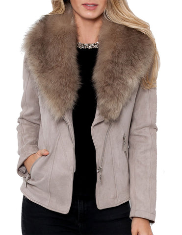 Kelly Faux Fur Moto Jacket