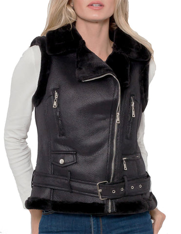 Paula Faux Leather Vest w/Faux Fur