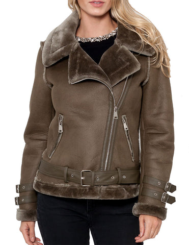 Rita Faux Leather Jacket with Faux Fur