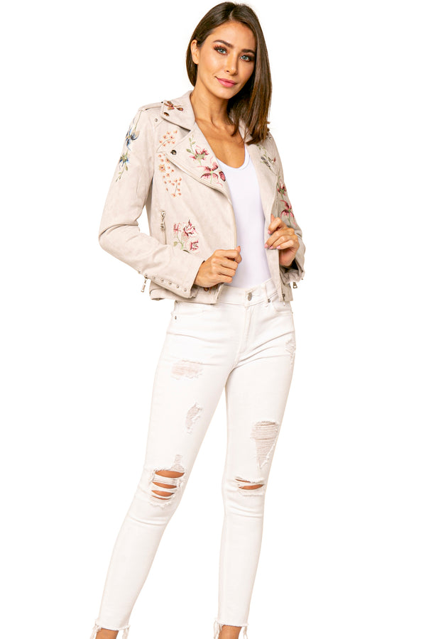 Mckinley Rose Embroidered Biker Jacket