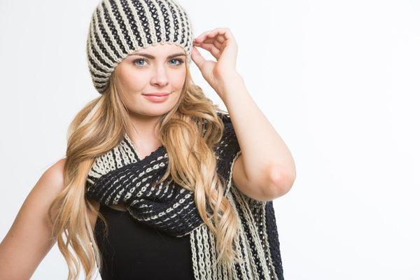 Natalie Knit and Rabbit Fur Hat + Scarf Set