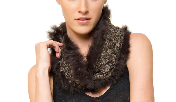 Hart Knit + Rabbit Fur Infinity Scarf