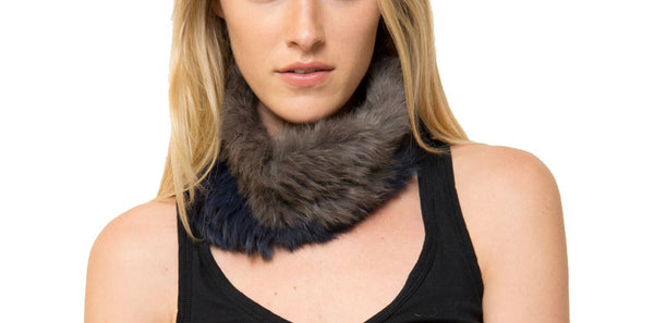 Adam Genuine Real Rabbit Fur Infinity Scarf Snood