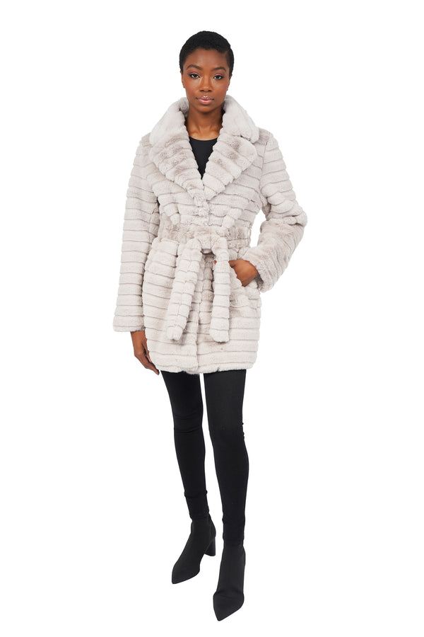 Mike Faux Fur Plush Panel Coat