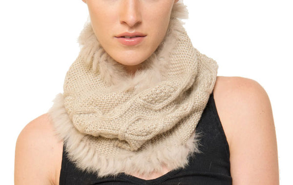 Tessa Knit Neck-Warmer Scarf with Genuine Real Rabbit Fur Trim