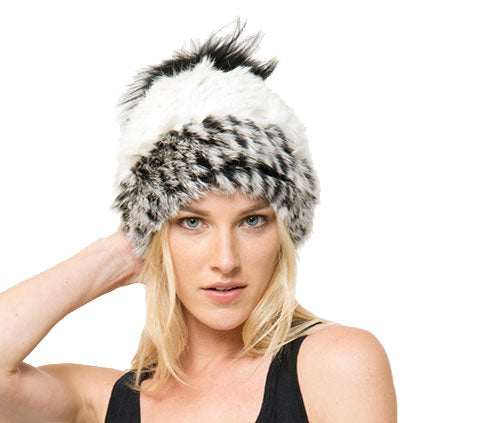 Mary Alan Genuine Real Rabbit Fur Beanie Hat