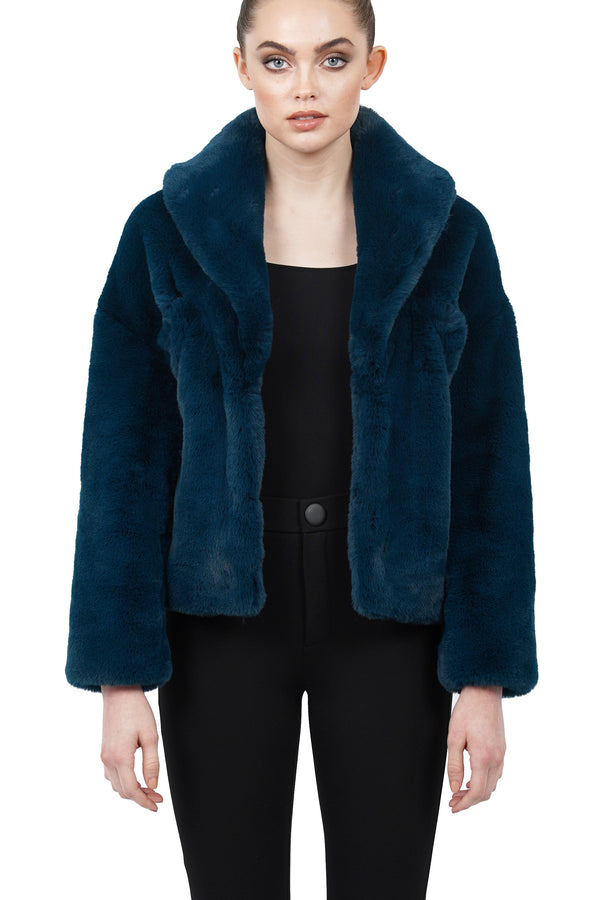 Tiara Faux Fur Plush Jacket Coat