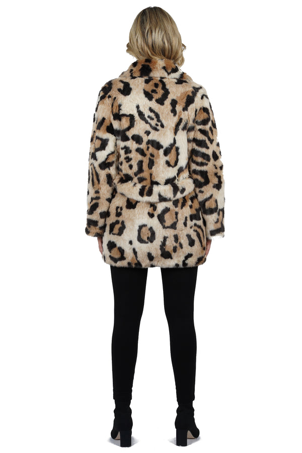 Kian Faux Fur Cheetah Print Jacket Coat