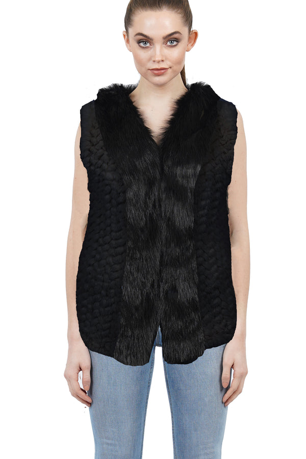 Sidney Faux Fur Trimmed Knit Vest