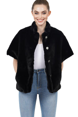 Arcadia Faux Fur Short Sleeve Jacket