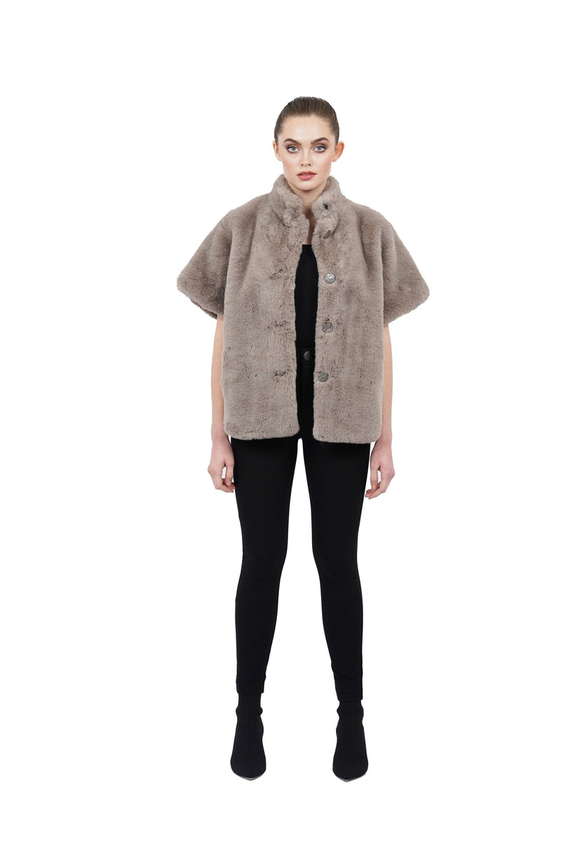 Arcadia Faux Fur Short Sleeve Jacket Coat
