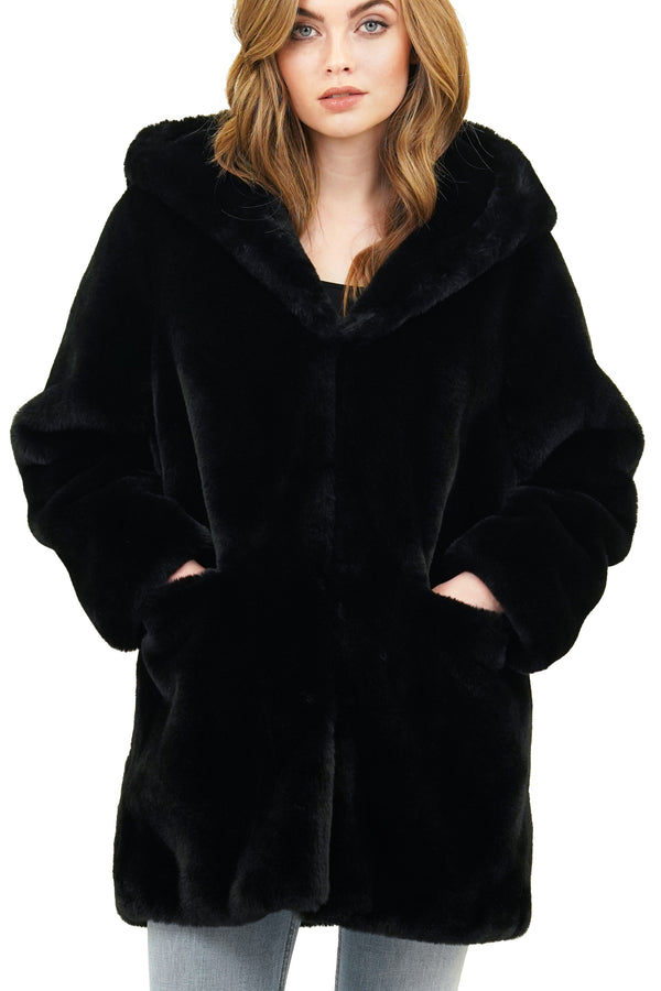Wyatt Faux Fur Hooded Jacket Teddy Coat