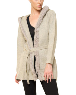 Sherri Hooded Cardigan Sweater with Genuine Real Rabbit Fur Trim