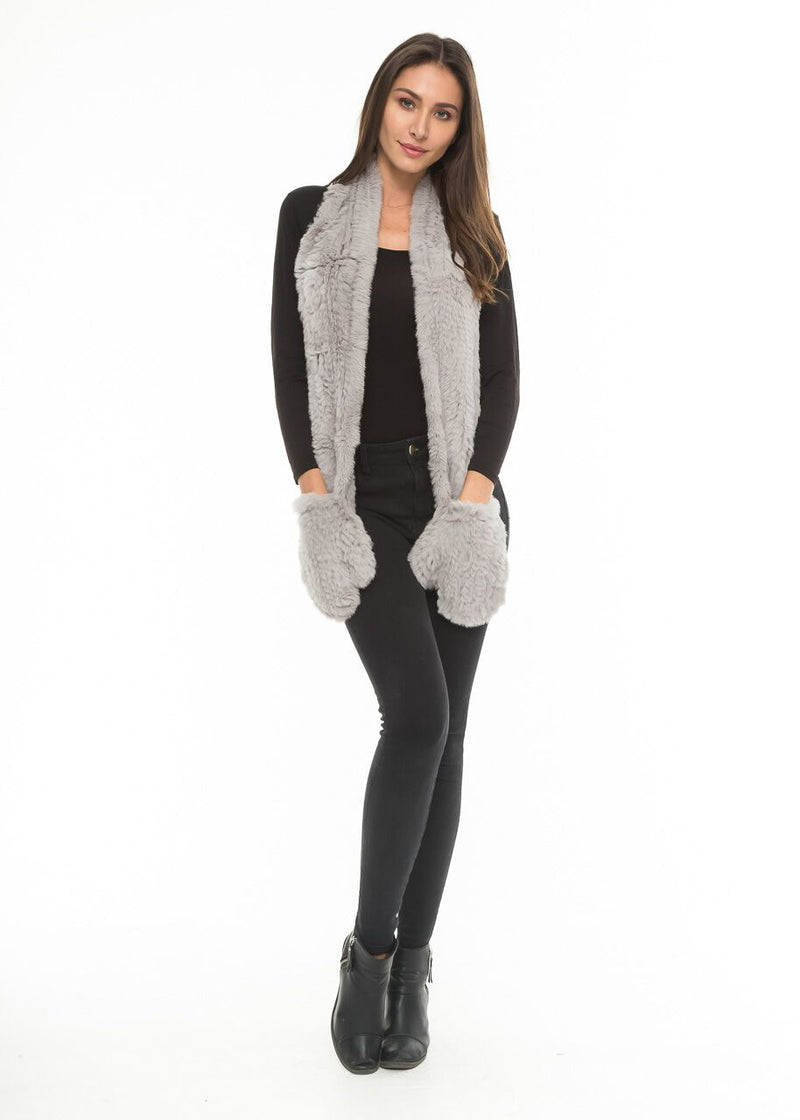 Cheryl Fur Scarf with Gloves in Grey | Love Token US