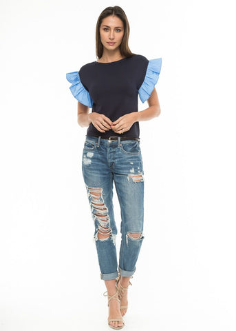 Knitted Sleeve with Ruffle Sleeve in Blue Mix | Love Token US
