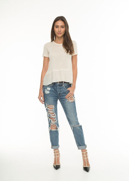 Mix Media Short Sleeve Top in Cream | Love Token US